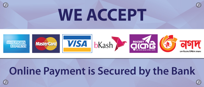 Secured Payment by BKash and Debit/Cedit cards